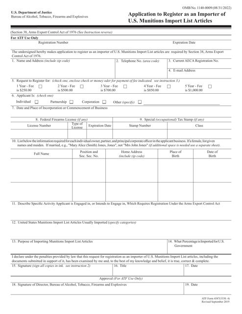 ATF Form 4587 (5330.4)  Printable Pdf
