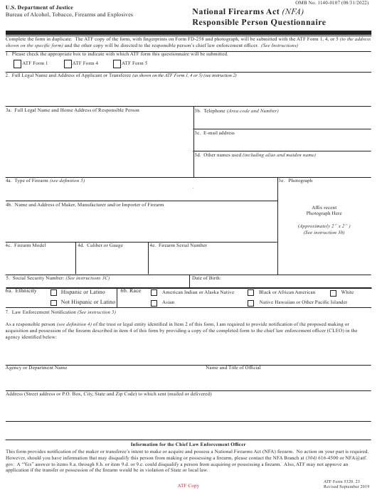 ATF Form 5320.23  Printable Pdf