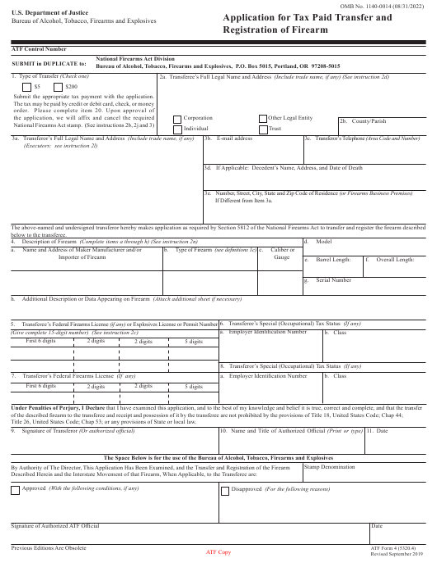 ATF Form 4 (5320.4)  Printable Pdf