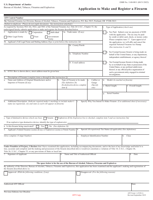 ATF Form 1 (5320.1)  Printable Pdf