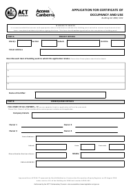 """Form S151 """"Application for Certificate of Occupancy and Use"""" - Australian Capital Territory, Australia"""