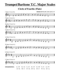 """Trumpet/Baritone T.C. Major Scales Sheets - Flats and Sharps"""
