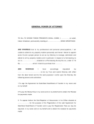 General Power of Attorney Form - Indian Inhabitant