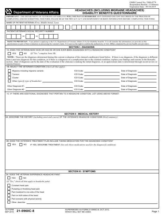 Va Form 21 0960c 8 Download Fillable Pdf Headaches Including