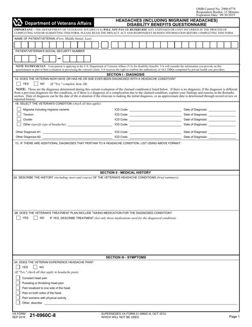 VA Form 21-0960C-8 Fillable Pdf