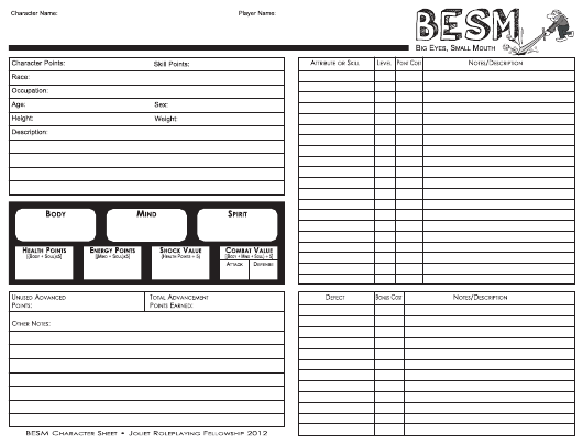 Besm Character Sheet Download Fillable Pdf Templateroller
