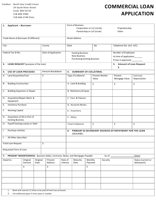 """""""Commercial Loan Application Form - North Star Credit Union"""" Download Pdf"""