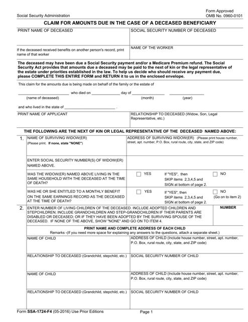 Form SSA-1724-F4 Fillable Pdf