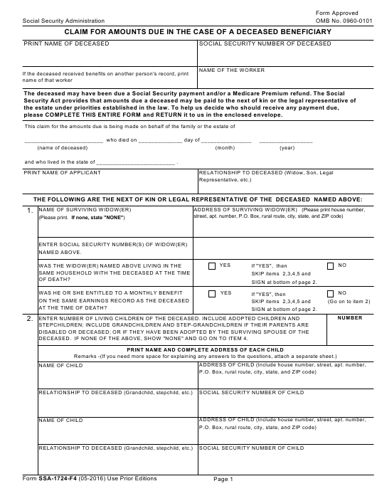 Form SSA-1724-F4 Fillable Pdf