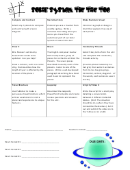 """""""Solar System Tic Tac Toe Activity Sheet and Score Card Template"""""""