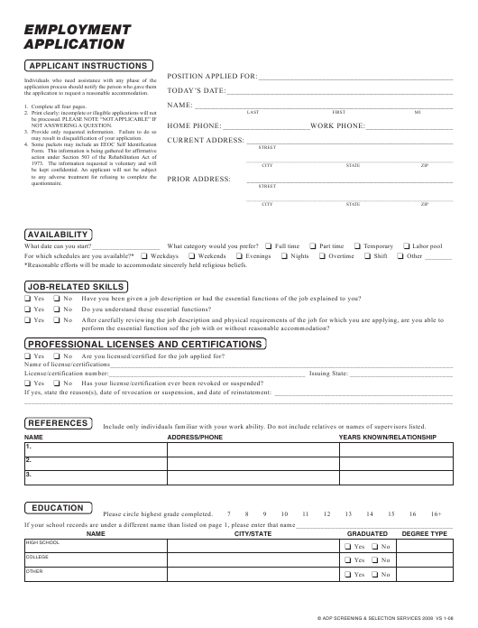 """Employment Application Form - Adp Screening & Selection Services"" Download Pdf"