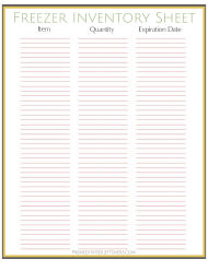 """Freezer Inventory Sheet Template"""