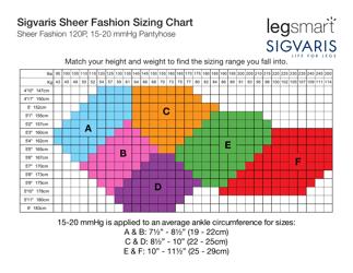 """Fashion Pantyhose Size Chart - Legsmart Sigvaris"""