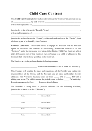 """Child Care Contract Template"""