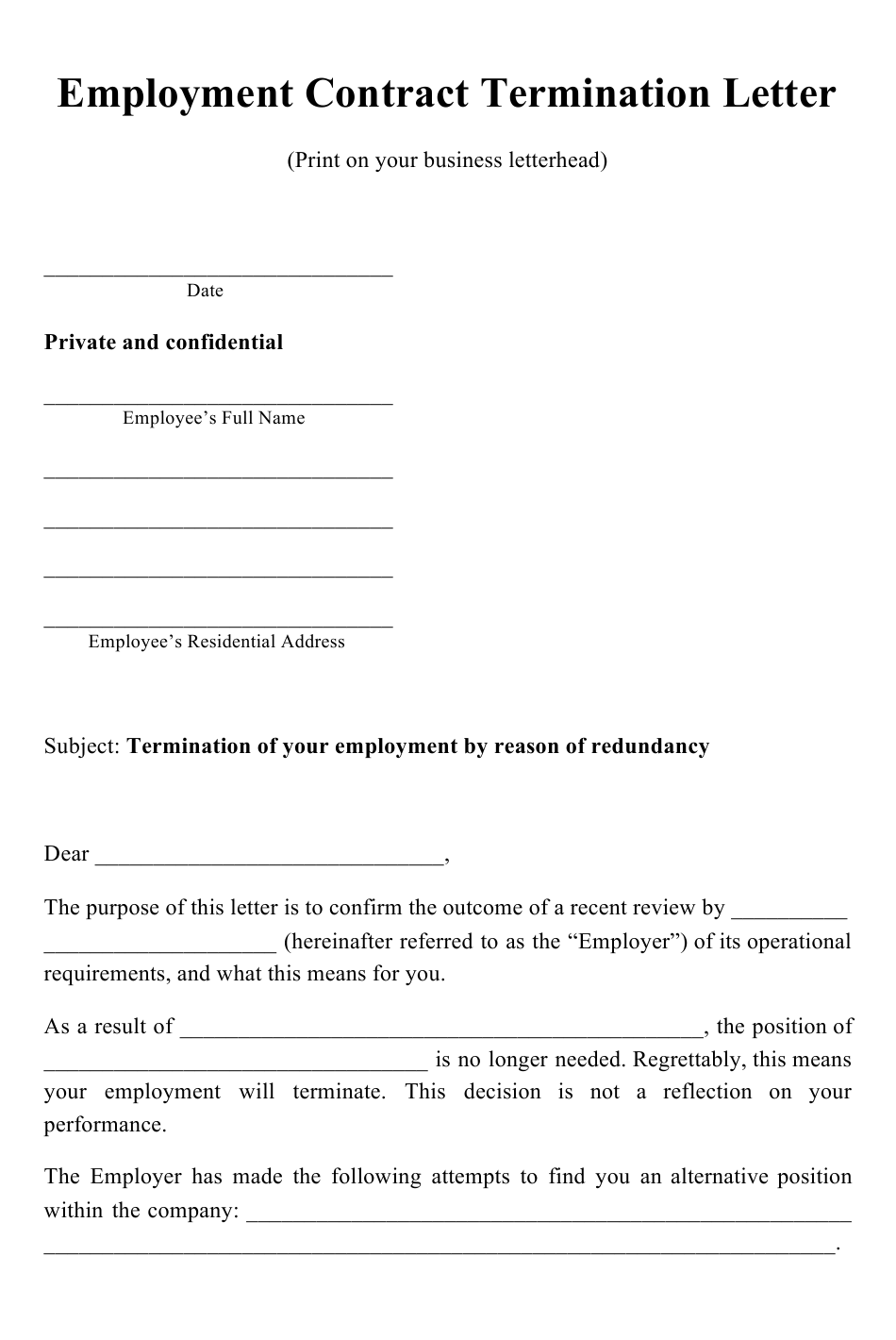 Employment Contract Termination Letter Template Download Printable Pdf Templateroller