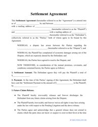 """""""Settlement Agreement Template"""""""