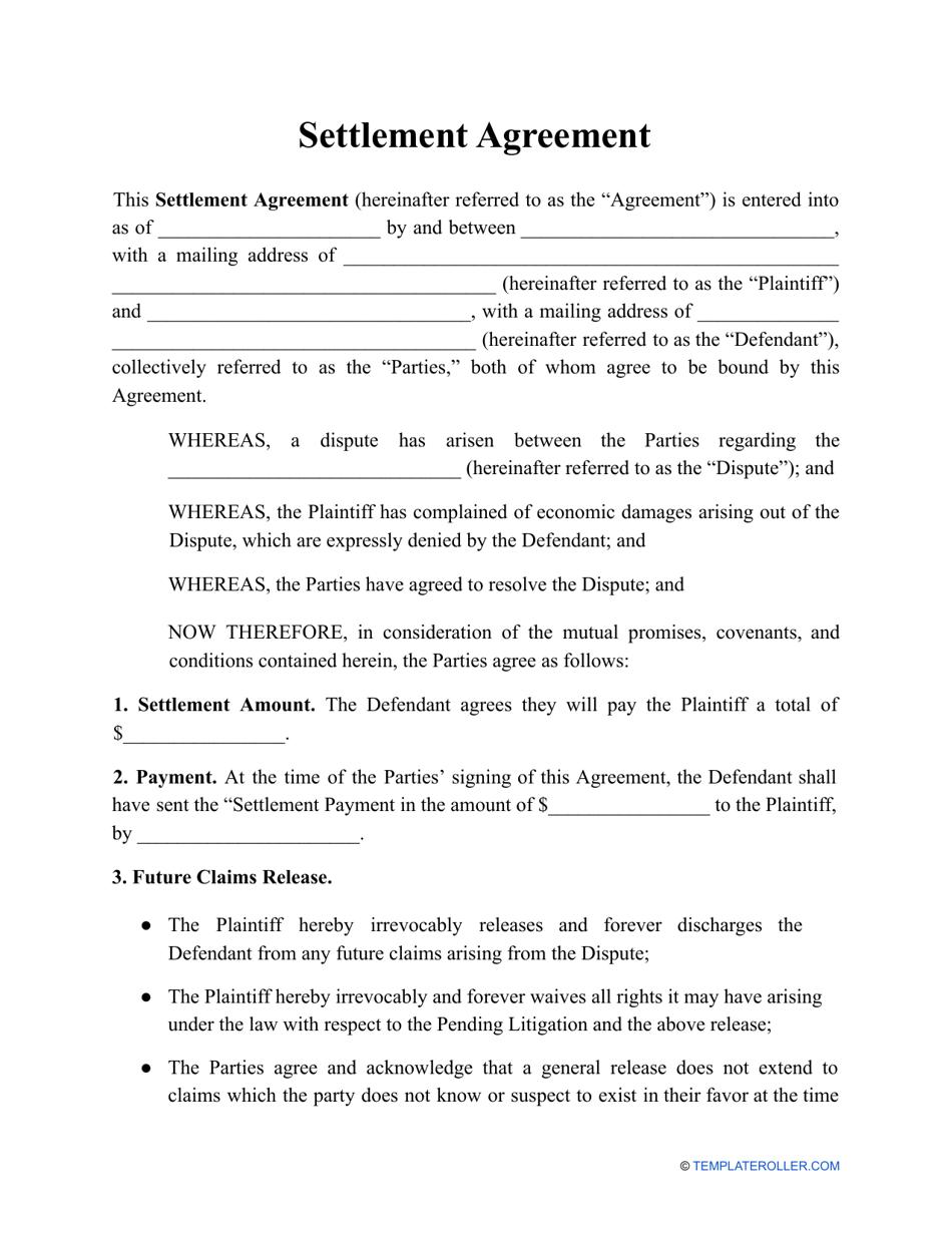 Sample Settlement Agreement Letter from data.templateroller.com