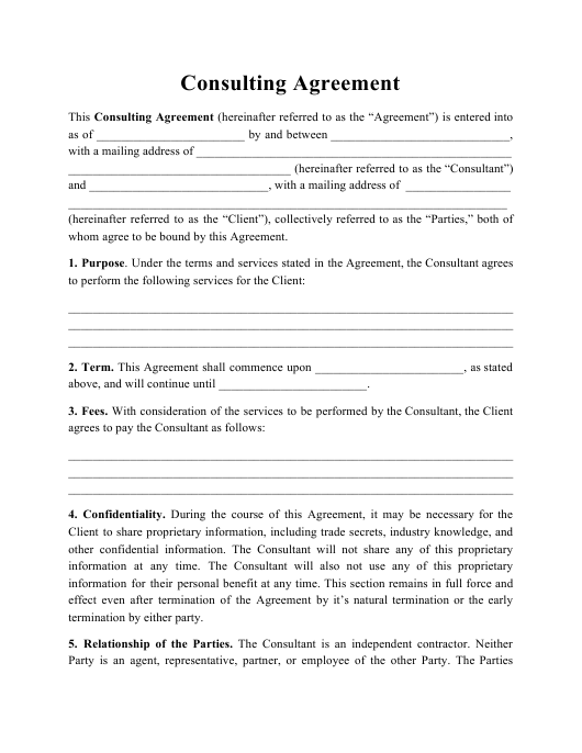 consulting agreement template download printable pdf. Black Bedroom Furniture Sets. Home Design Ideas