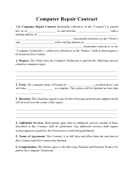 """Computer Repair Contract Template"""