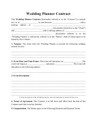 """""""Wedding Planner Contract Template"""""""