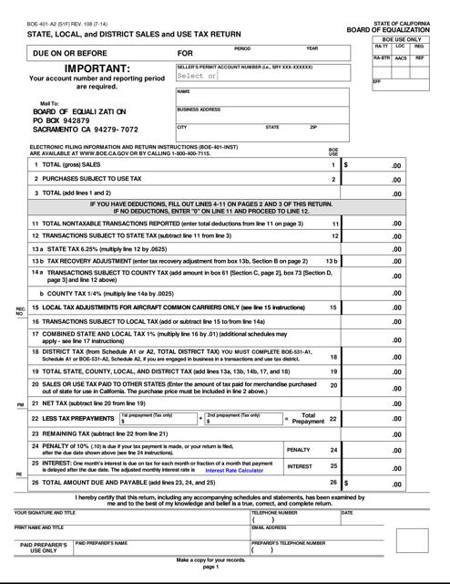 Form BOE-401-A2 (S1F) Printable Pdf