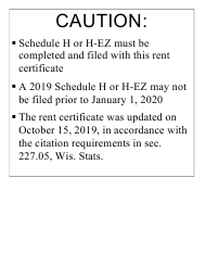"Form I-017 ""Rent Certificate"" - Wisconsin, 2019"
