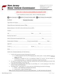 "Form BA-8 ""Njmvc Entity Identification Number (Ein) Request Form"" - New Jersey"