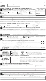 "Form DL44 ""Driver License or Identification Card Application"" - California"