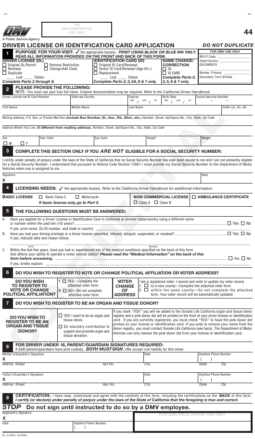 Form DL44  Printable Pdf