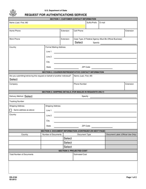 Form DS-4194  Printable Pdf