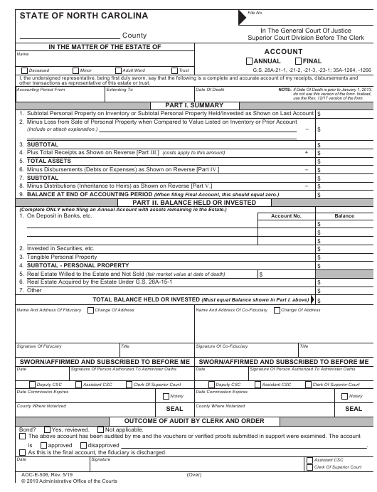Form AOC-E-506  Printable Pdf
