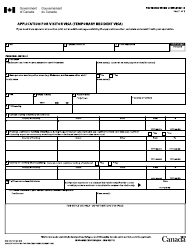 "Form IMM5257 ""Application for Visitor Visa (Temporary Resident Visa)"" - Canada"