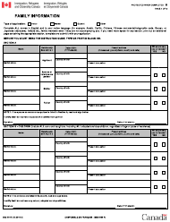 "Form IMM5645 ""Family Information"" - Canada"