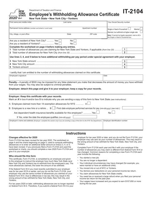 Form IT-2104 2020 Printable Pdf