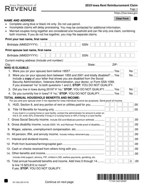 Form 54-130 2019 Printable Pdf