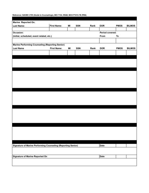 Form NAVMC2795 Printable Pdf