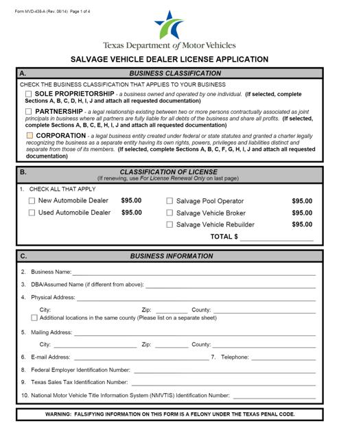 Form MVD-438-A  Printable Pdf