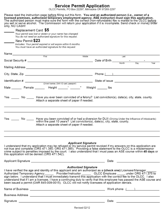 """Olcc Service Permit Application"" - Oregon Download Pdf"
