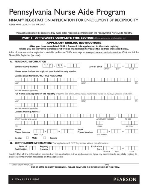 """Pennsylvania Nurse Aide Program Nnaap Registration Application for Reciprocity"" Download Pdf"
