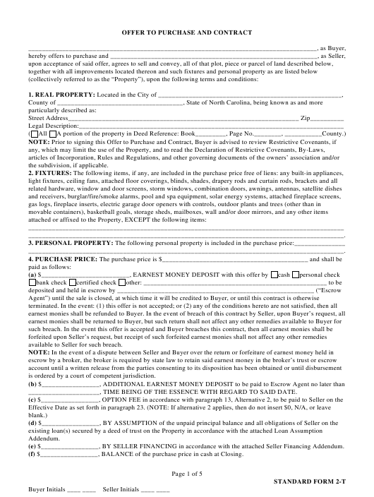 """""""Real Estate Offer to Purchase and Contract (Standard Form 2-t)"""" - North Carolina Download Pdf"""