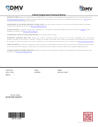 "Form MyDMV VR01 ""Vehicle Registration Renewal Notice"" - Nevada"