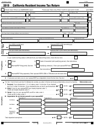 "Form 540 ""California Resident Income Tax Return"" - California, 2019"