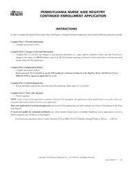 """Pennsylvania Nurse Aide Registry Continued Enrollment Application"" - Pennsylvania"