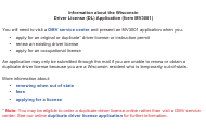 """Form MV3001 """"Wisconsin Driver License (Dl) Application"""" - Wisconsin"""