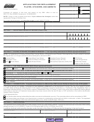 "Form REG156 ""Application for Replacement Plates, Stickers, Documents"" - California"