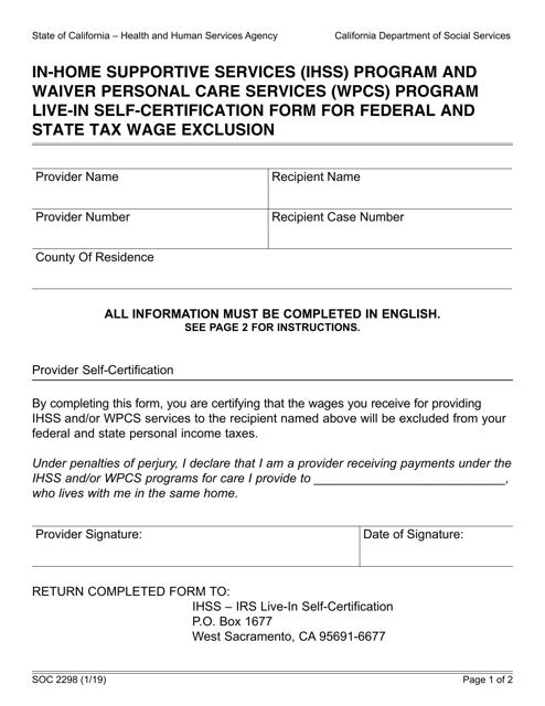 Form SOC2298  Printable Pdf