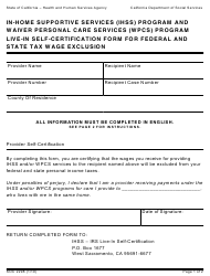 """Form SOC2298 """"In-home Supportive Services (Ihss) Program and Waiver Personal Care Services (Wpcs) Program Live-In Self-certification Form for Federal and State Tax Wage Exclusion"""" - California"""