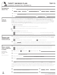 """Form TSP-73 """"Change in Monthly Payments (Civilian)"""""""