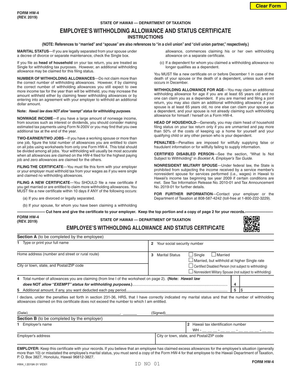 withholding certificate employee allowance form hawaii status fill templateroller hw