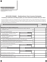 "Form DR0104AD ""Subtractions From Income Schedule"" - Colorado, 2019"